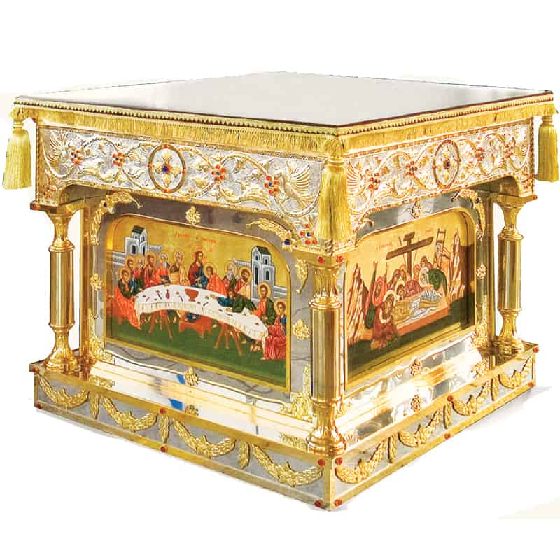 Holy Table Bronze Gold and silver plated with Icons