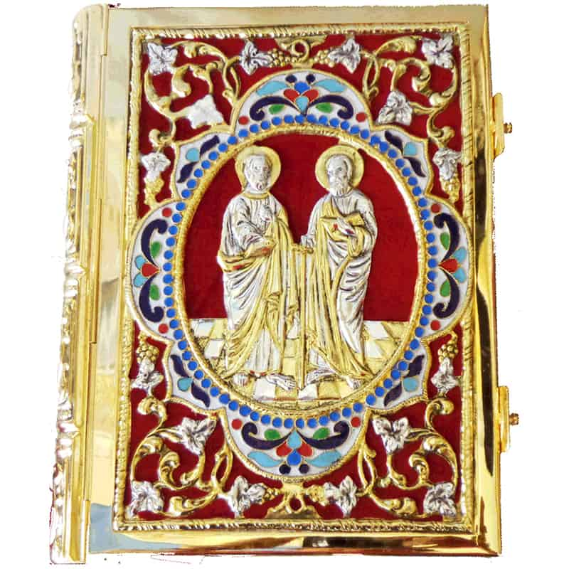 Apostle gold and silver plated with enamel and velvet