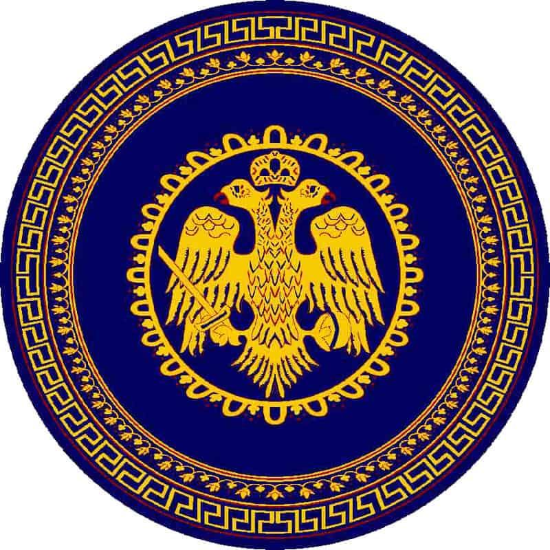 Χαλί με Βυζαντινό Δικέφαλο Αετό μπλε726s 11