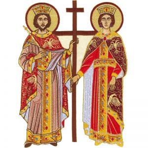 Κεντητή Παράσταση Αγίων Κωνσταντίνου και Ελένης