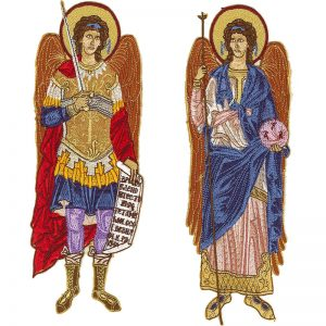 Κεντητή Παράσταση Ταξιαρχών Μιχαήλ και Γαβριήλ
