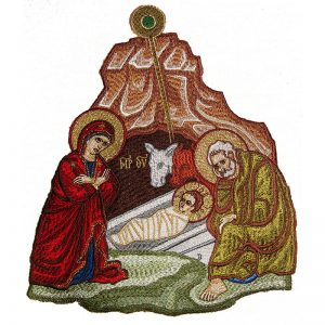 Embroidered depiction of the Birth of Jesus
