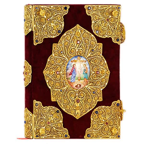 Silver Gospel (filigree) with velvet and enamels.