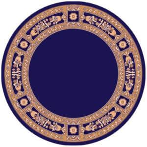 Round carpet with decoration blue
