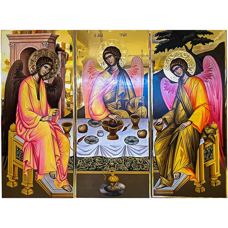 Icon Triptych The Hospitality of Abraham