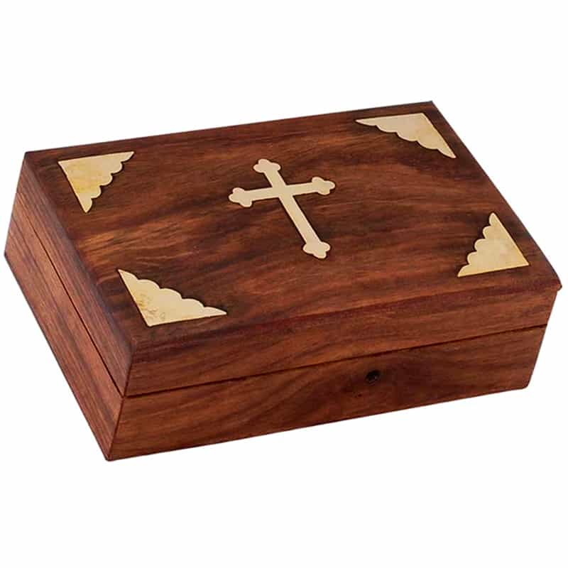 Wooden box with bronze elements
