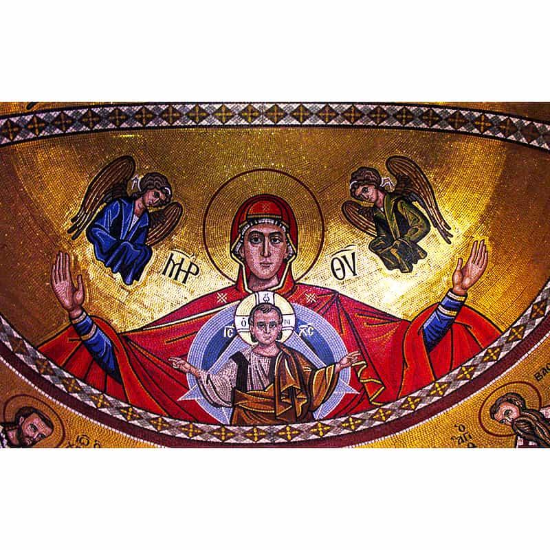 """Мозаичное панно с изображением иконы Божией Матери """"Платитера"""""""