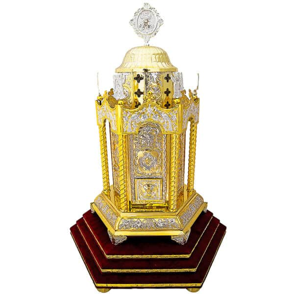 Tubernacle Six-sided gold and silver-plated with base