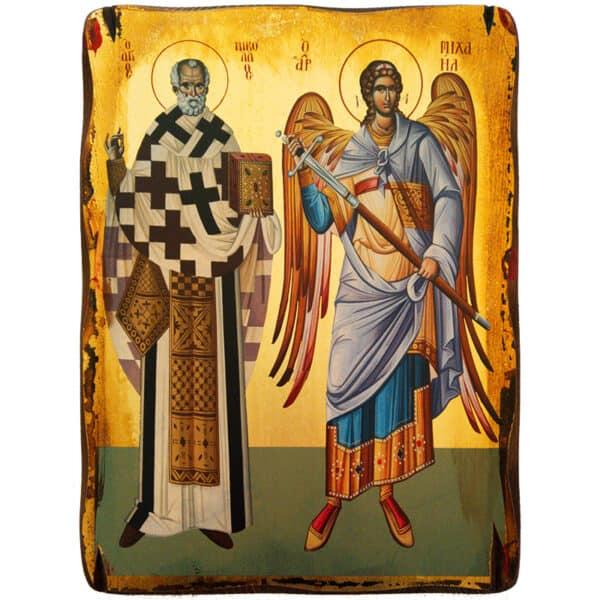 Icon Saint Nicholas and Archangel Michael